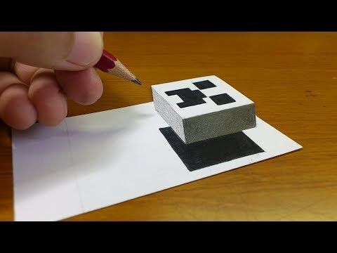 Very Easy!! How To Draw 3D Floating CREEPER(MINECRAFT)- 3D