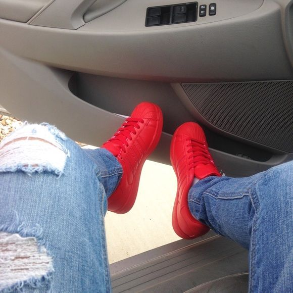 cb2c111e0fa Adidas SUPERSTAR RED Hey everyone I have a pair of Superstar Adidas Color   Red Size  8 1 2 9 No box   NEW Adidas Shoes