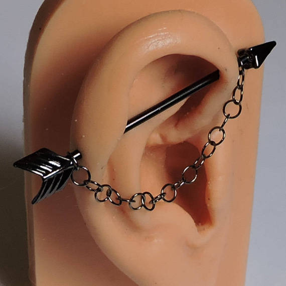 "Industrial w//Gauged Center 14 Gauge 1-1//2/"" Steel Barbell 6mm Balls Body Jewelry"