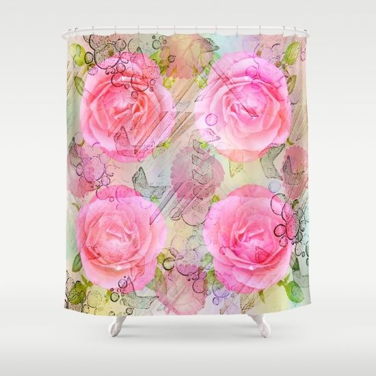 Pink roses on a painterly background Shower Curtain