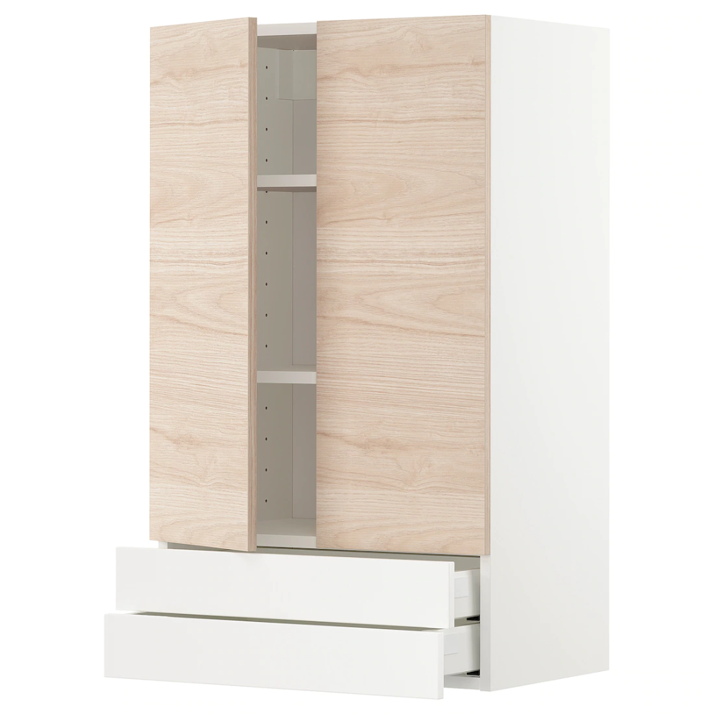 Metod Wall Cabinet W 2 Doors 2 Drawers White Askersund Light Ash Effect Ikea Tall Cabinet Storage Cabinet