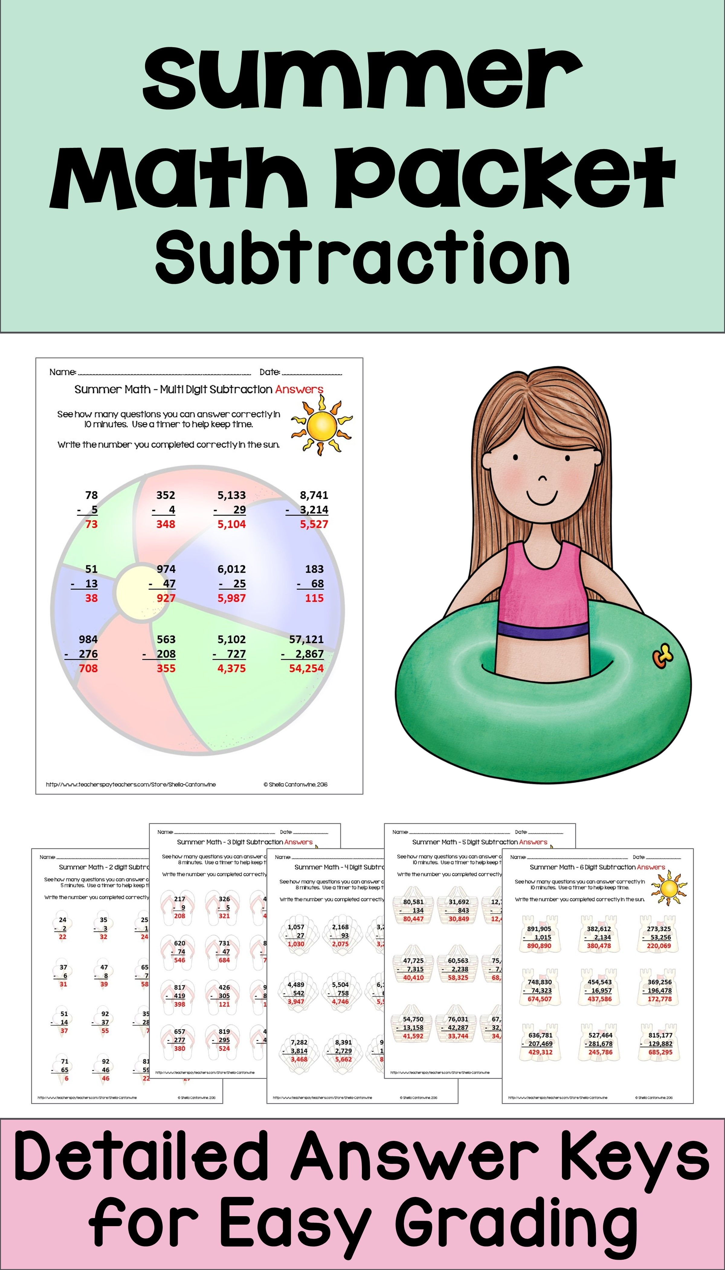 This Summer Math Packet Features Subtraction Practice For