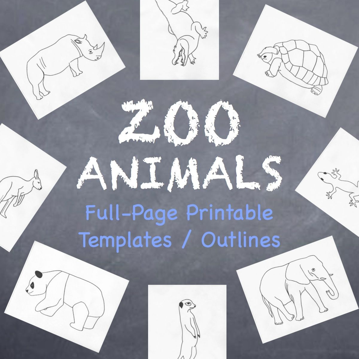 Zoo Animals Printable Full Page Outlines Templates For