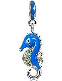 Ninaqueen 925 Sterling Silver Enamel Miss Hippocampus Dangle Charms Fit Pandora Bracelet  ASIN:  B00X146IJ4 MODEL#  CSG05344BW