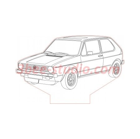 Volkswagen golf mk1 gti 3d illusion lamp plan vector file