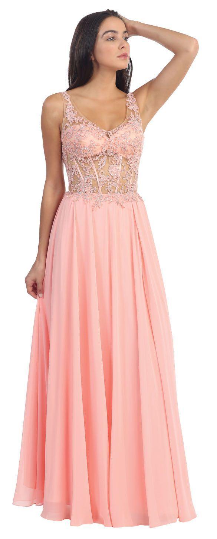 BLUSH V-NECK SHEER LACE LONG PROM DRESS $ 170   Long Skirts/Prom ...