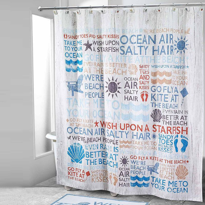 Avanti Beach Words Shower Curtain Beach Shower Curtains Beach
