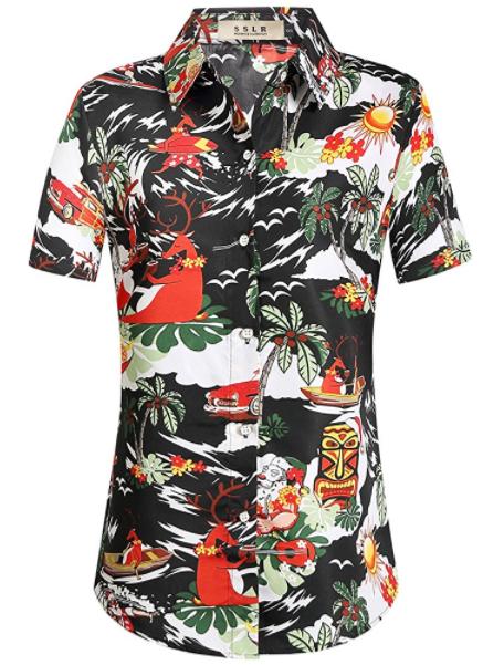 Christmas Hawaiian Shirt Womens.Pin On Hawaiian Shirts For Women