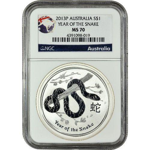 2013 1 Oz Australian Silver Lunar Snake Coin Ngc Ms70 Ngc Coins Silver