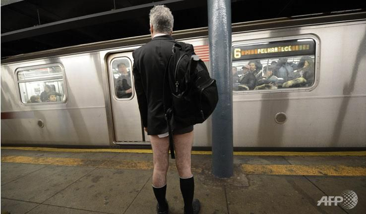 A man in his underwear in the New York City subway takes part in the \