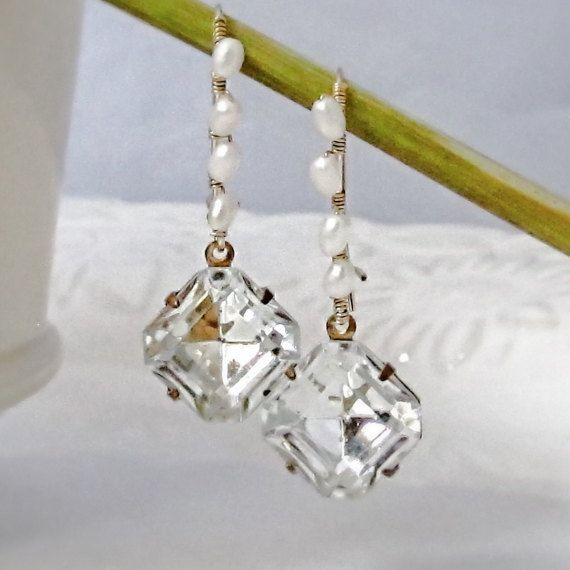 Bridal Crystal Drop Earrings Gold Wedding Jewelry Crystal ...