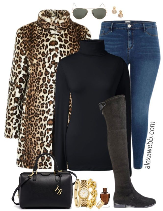Plus Size Leopard Coat Outfit - Plus Size Winter Outfit Idea - Plus Size Fashion for Women - alexawebb.com #alexawebb #plussize #plus size winter outf...
