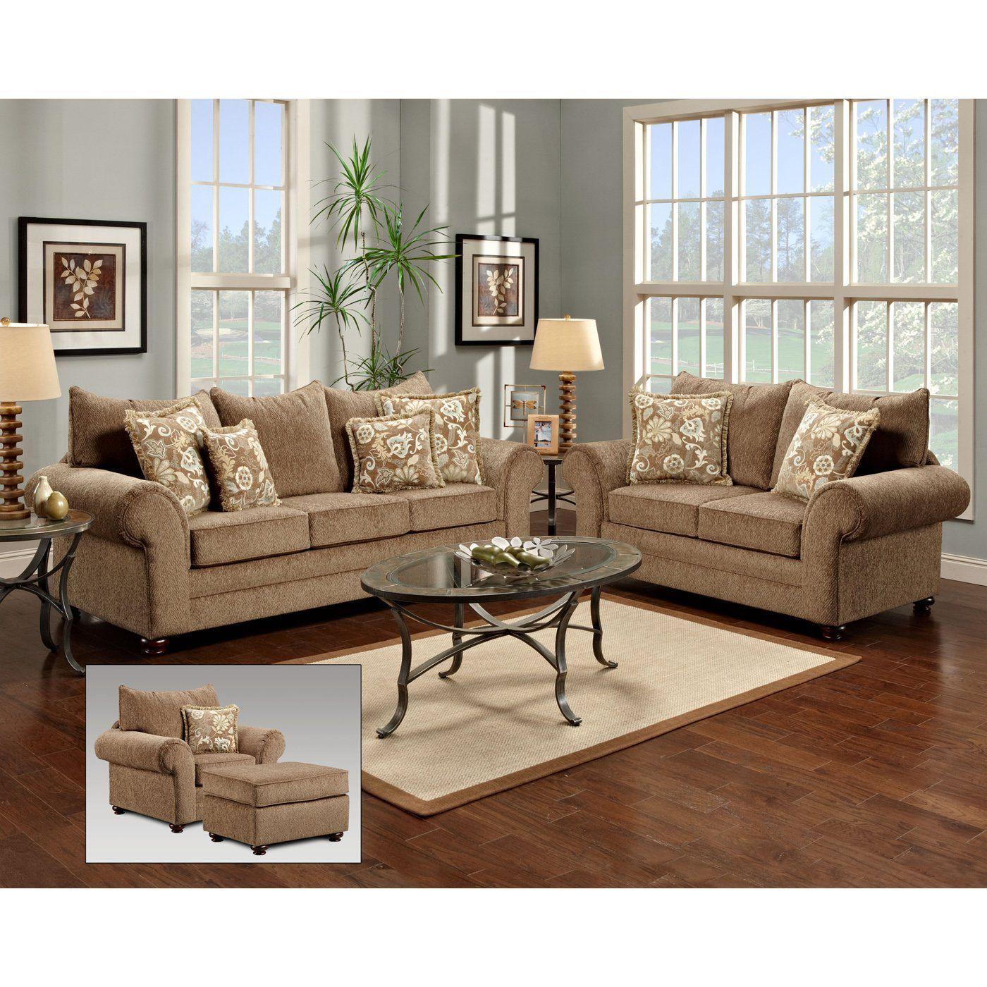 Sofa, loveseat, chair and ottoman.