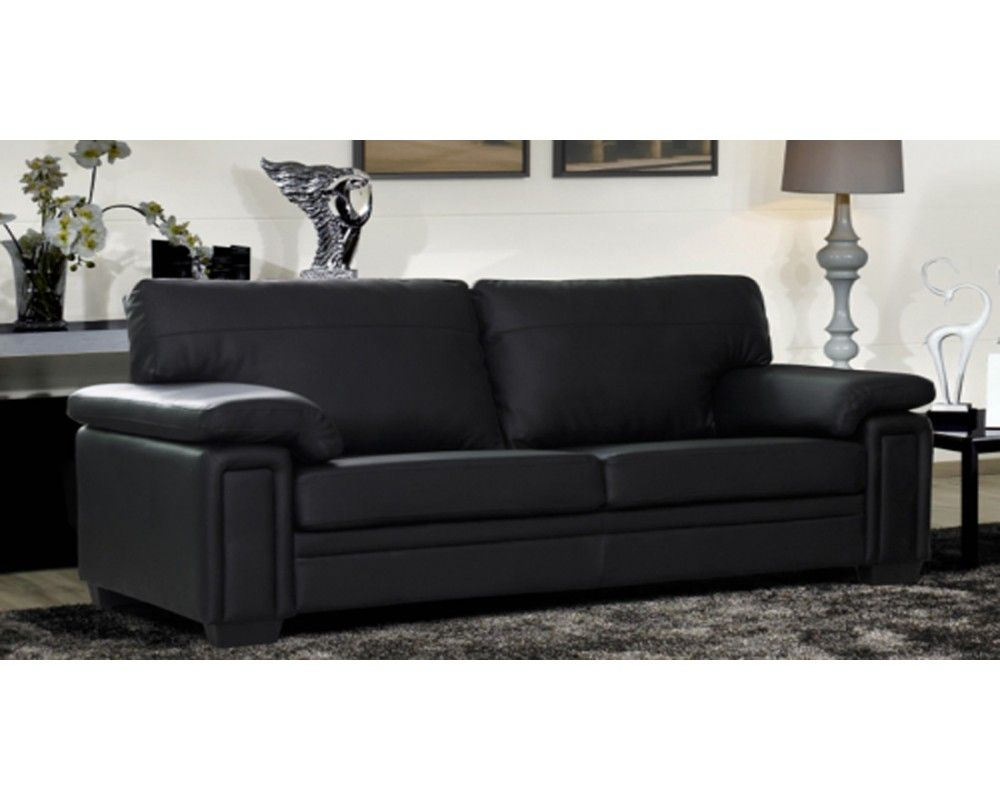Melbourne Black Leather Sofa Set