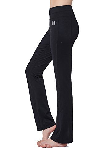 246ae4e13a0a Women Black Mid Waist Yoga Pants Straight Leg Cut Non see-through Fabric  Tummy Control Hidden Inner Pocket Slimming Activewear for Fitness Running  Workout ...