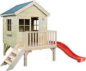 cabane enfant jardin sur pilots avec toboggan d co enfants b b s pinterest cubby houses. Black Bedroom Furniture Sets. Home Design Ideas