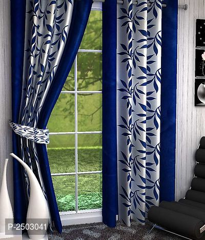 9 Feet Polyester Blend Eyelet Fitting Long Door Curtain Pack Of