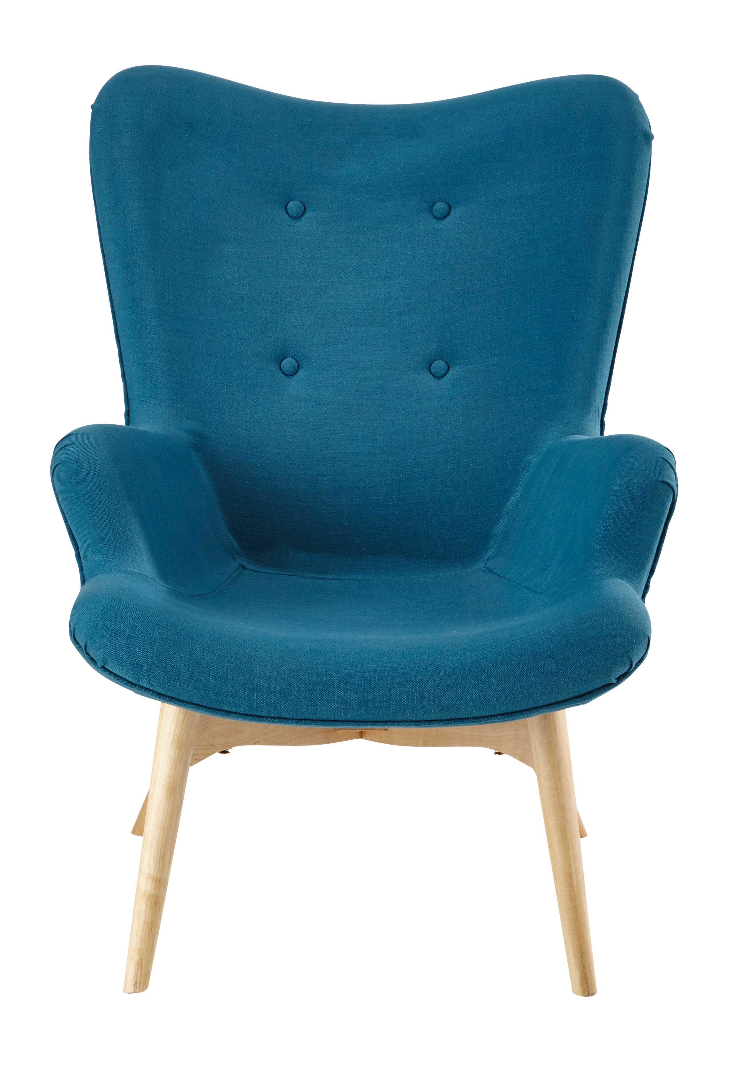 Fauteuil Scandinave En Tissu Bleu Pétrole Salons Armchairs And - Fauteuil tissu bleu