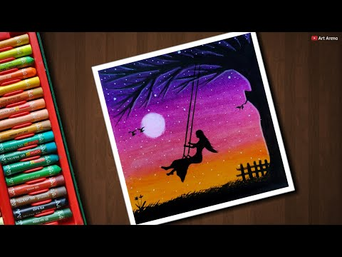 Girl On Swing Drawing For Beginners With Oil Pastels Step By Step Beginners Drawing Pastels Swing Oilp In 2020 Oil Pastel Art Oil Pastel Oil Pastel Drawings
