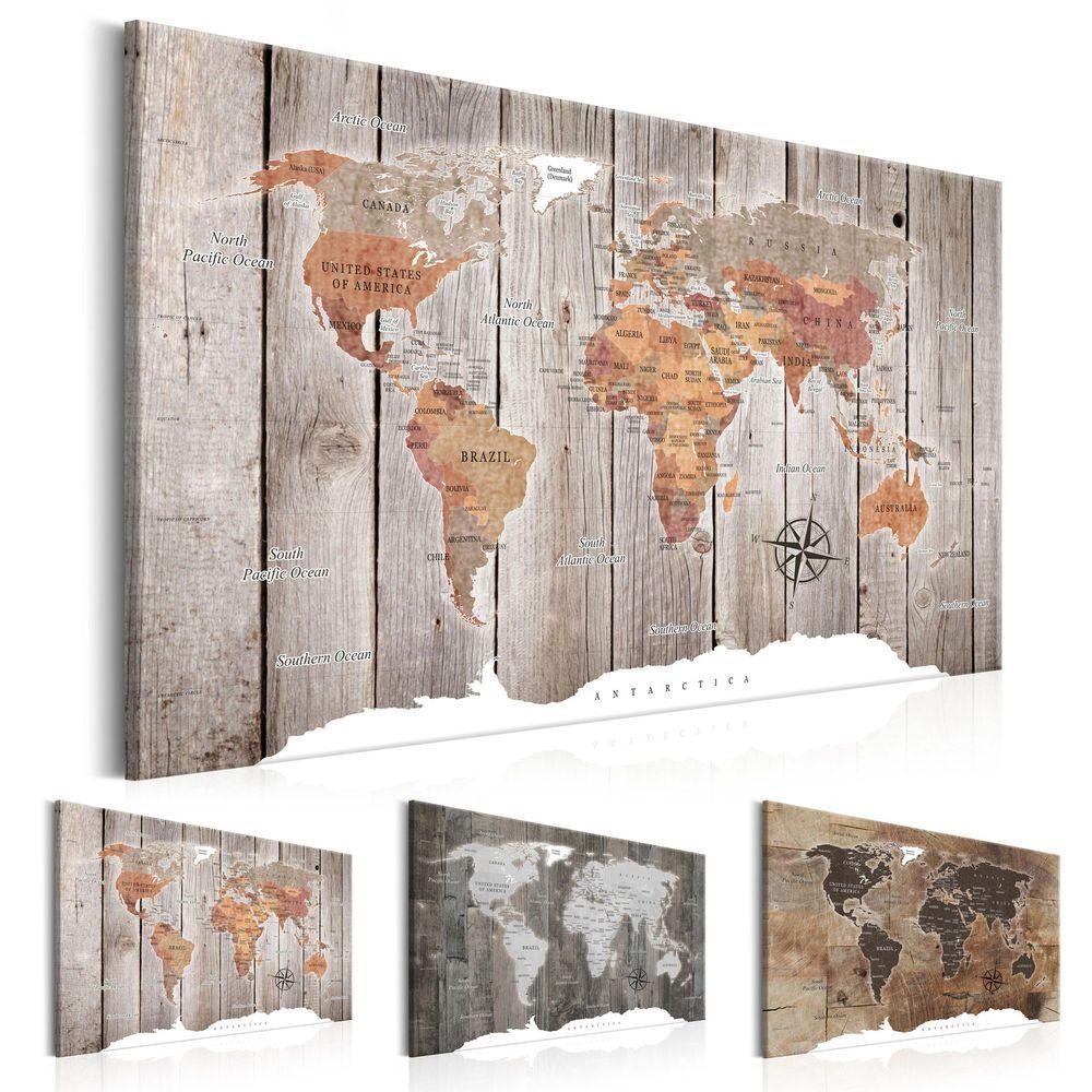 BILDER WELTKARTE PINNWAND Holzfaserplatte Landkarte Leinwand Wandbilder xxl