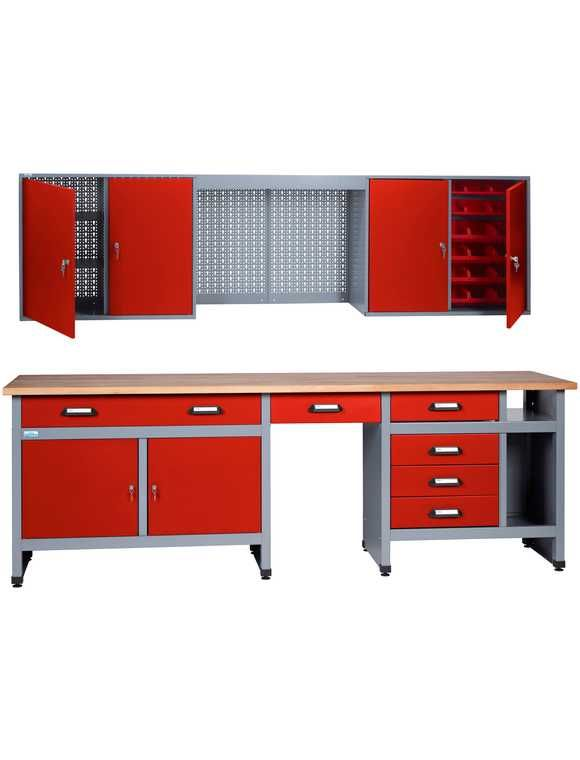 KÜPPER Werkbank-Set 240 cm, rot, in verschiedenen Höhen ...