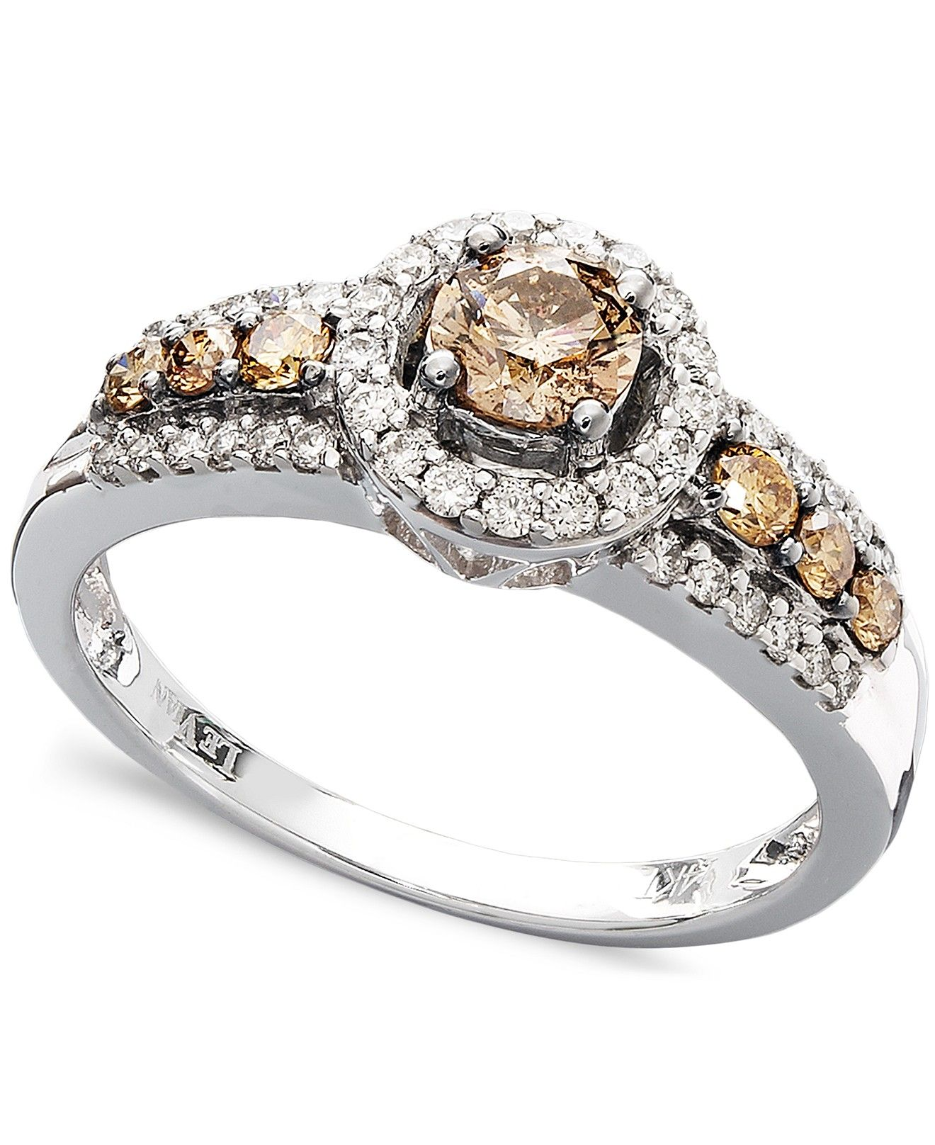 le vian chocolate and white ring in 14k white gold