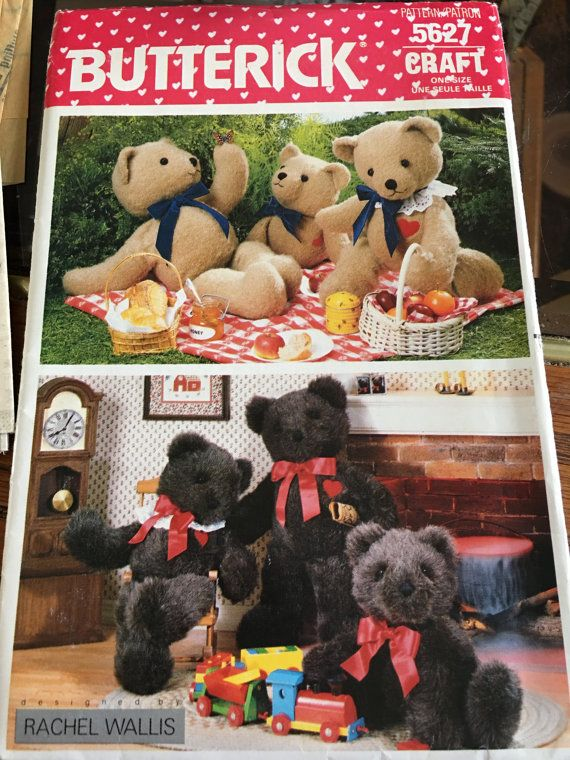 Butterick uncut craft teddy bear sewing pattern 3 sizes | Embroidery ...
