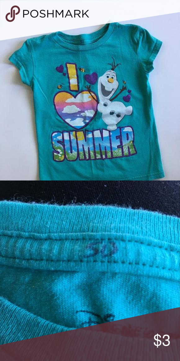 """Olaf t shirt Teal t shirt with multicolored appliqué featuring Olaf and """"I ❤️summer"""" initials SD are on neckline- see pic Disney Dresses"""