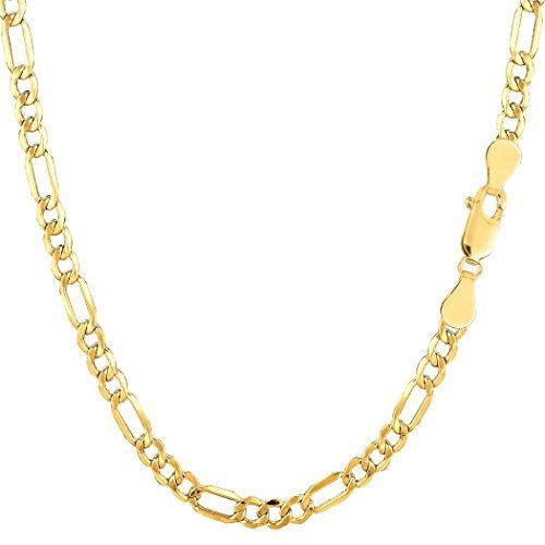 FB Jewels 14K White Yellow and Rose Three Color Gold Stamp Figaro Diamond-Cut Chain Necklace