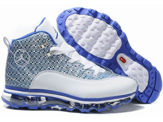 white and blue jordans 12