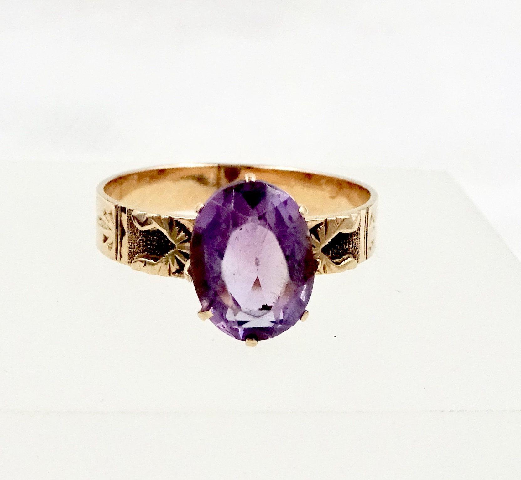 ROSE GOLD RING 1.75 Carat Amethyst 10k Rose Gold Ring Sz 6