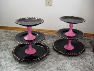 DIY cupcake stand from Glass Plates & Glass candle stick holders