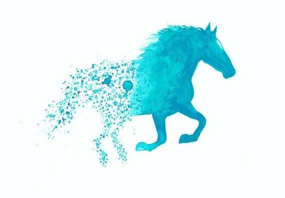 Horse In Turquoise Art Print A3 Wall Art Home Decor by ...