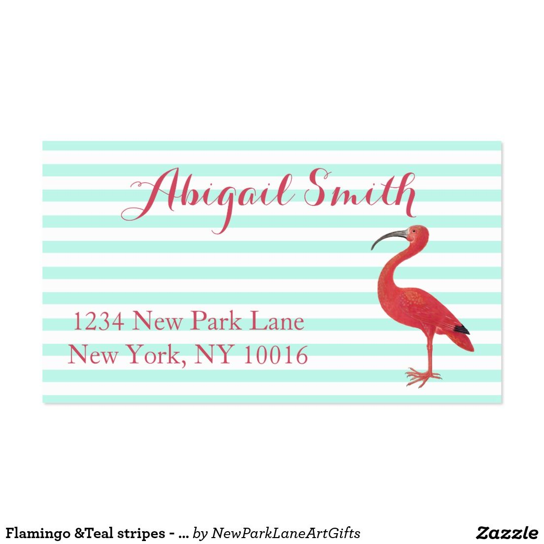 Flamingo &Teal stripes - Fine Art Business Cards | Flamingo