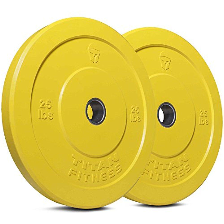 Titan Fitness Pair 25lb Olympic Bumper Plate Yellow Benchpress ...