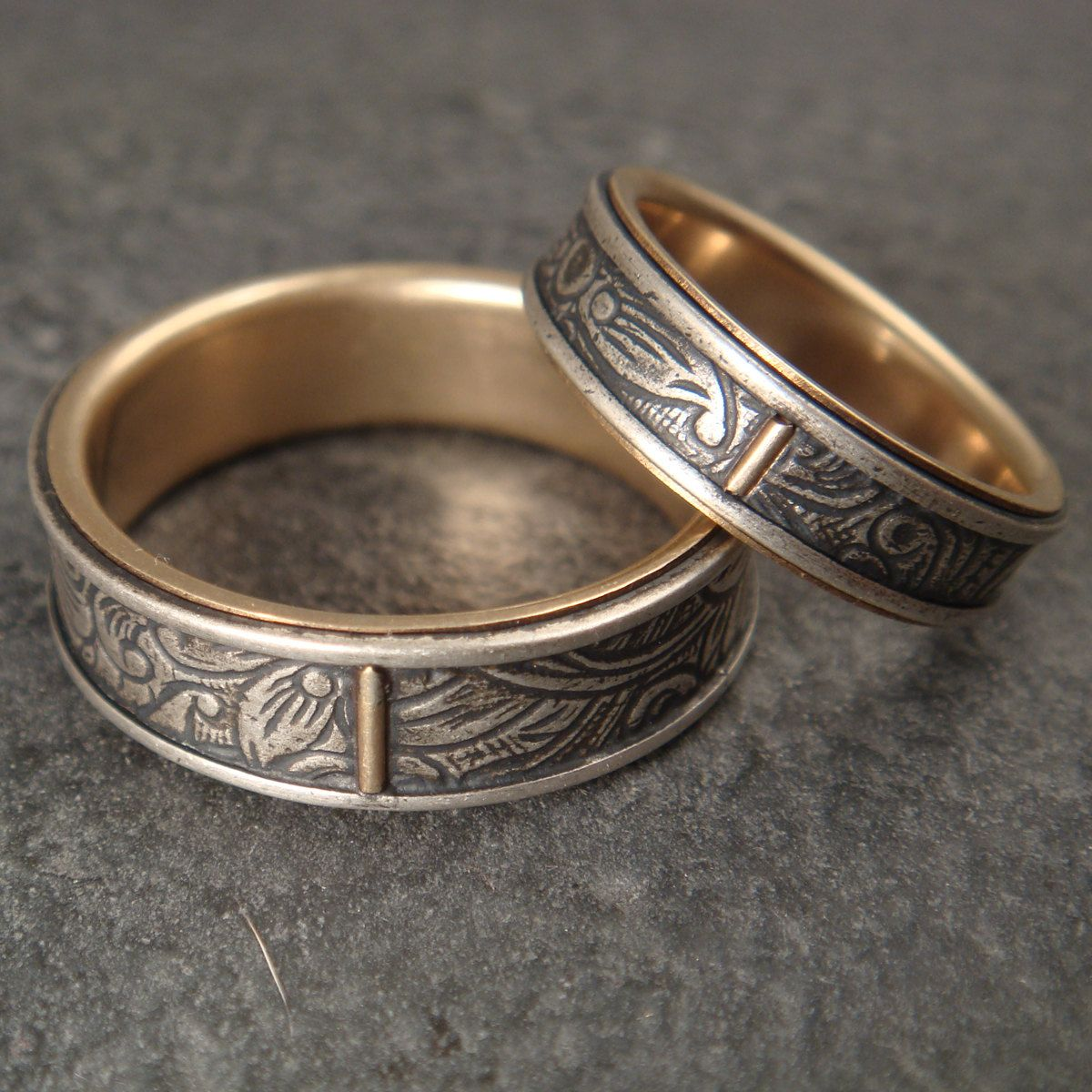 Wedding Ring Set, Sunflower Silver and 14k Yellow Gold