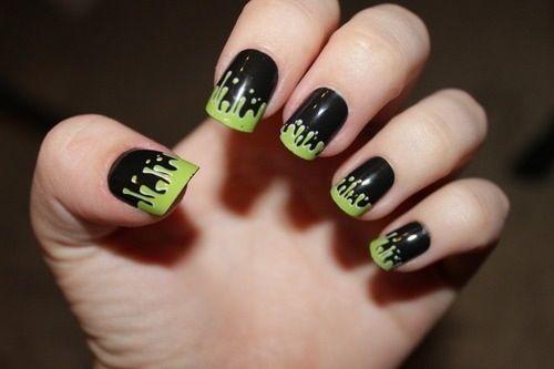 Cute black and green nail design. Kinda emo nails - Cute Black And Green Nail Design. Kinda Emo Nails I Want This