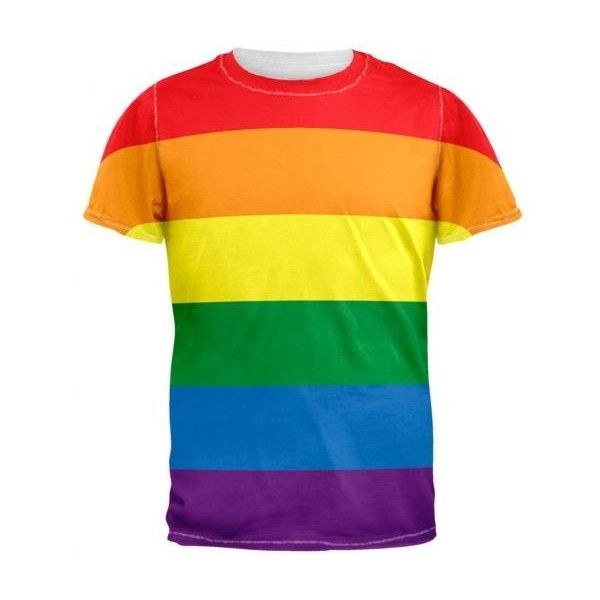 0d913ba9 Gay Pride Rainbow Flag Men's T-Shirt ❤ liked on Polyvore featuring men's  fashion, men's clothing, men's shirts and men's t-shirts
