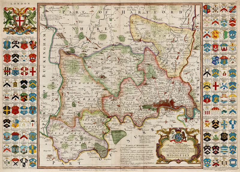 Large beautiful 1750 map of London and Middlesex today part of