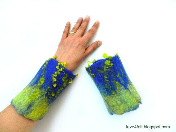 Wet felted wrist warmers royal blue by love4felt on Etsy