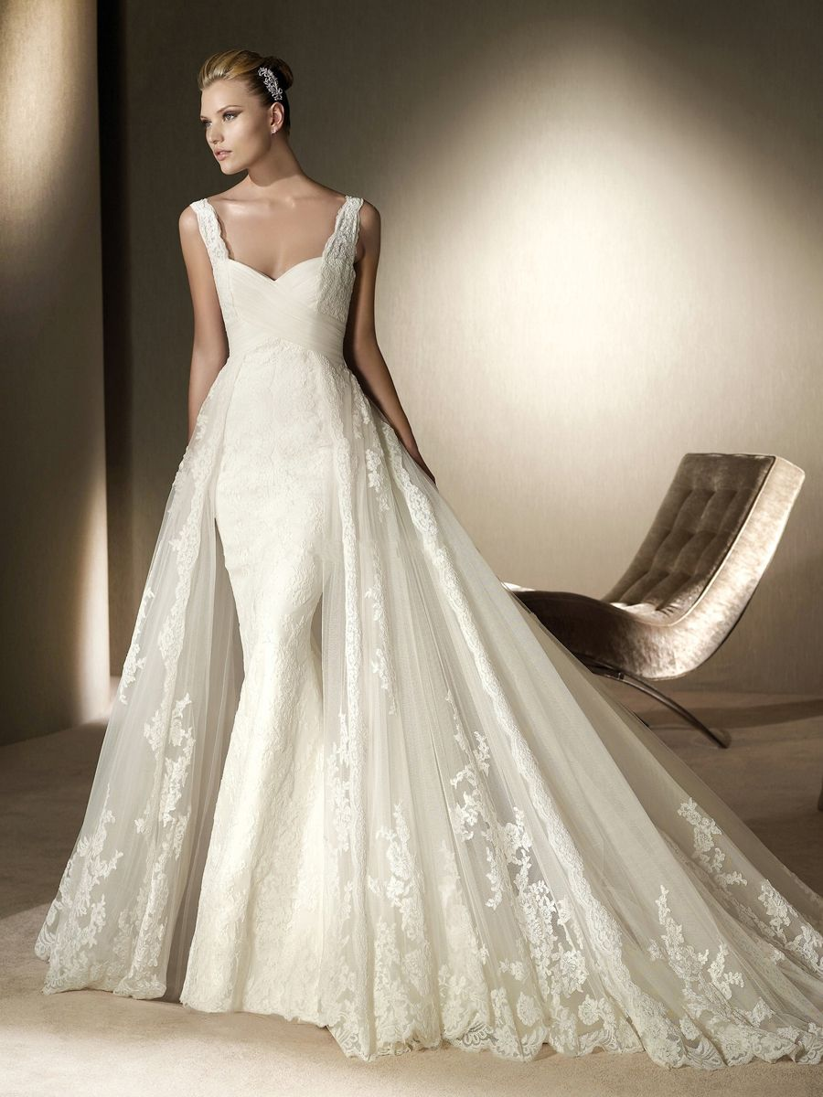 Empire Modest Lace Overlay Wedding Dress Collections Amazing Mermaid With Semi Cathedral Train