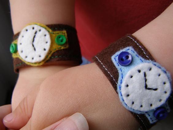Cute felt watch bracelets. Would be fun to DIY.