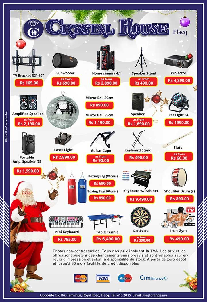 End Of Year Promo At Crystal House Flacq Tel 413 2015 Speaker