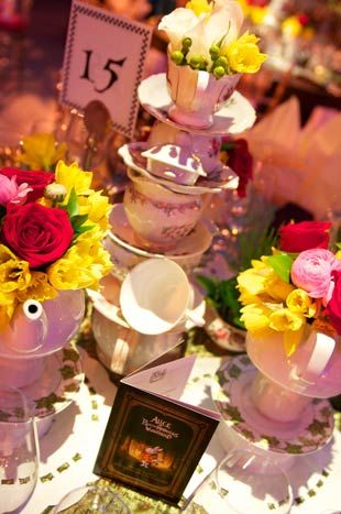 <p> Like the settings, table centrepieces varied. Stacks of teacups and flowers created one look, flamingos with eyelashes and hedgehogs...