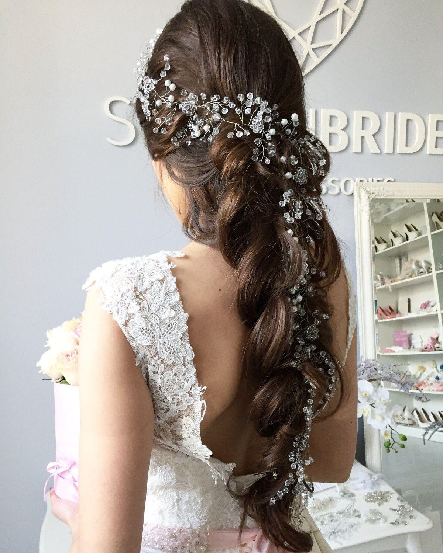 boho 2019 bridal gorgeous extra long pearl hair vine, rustic