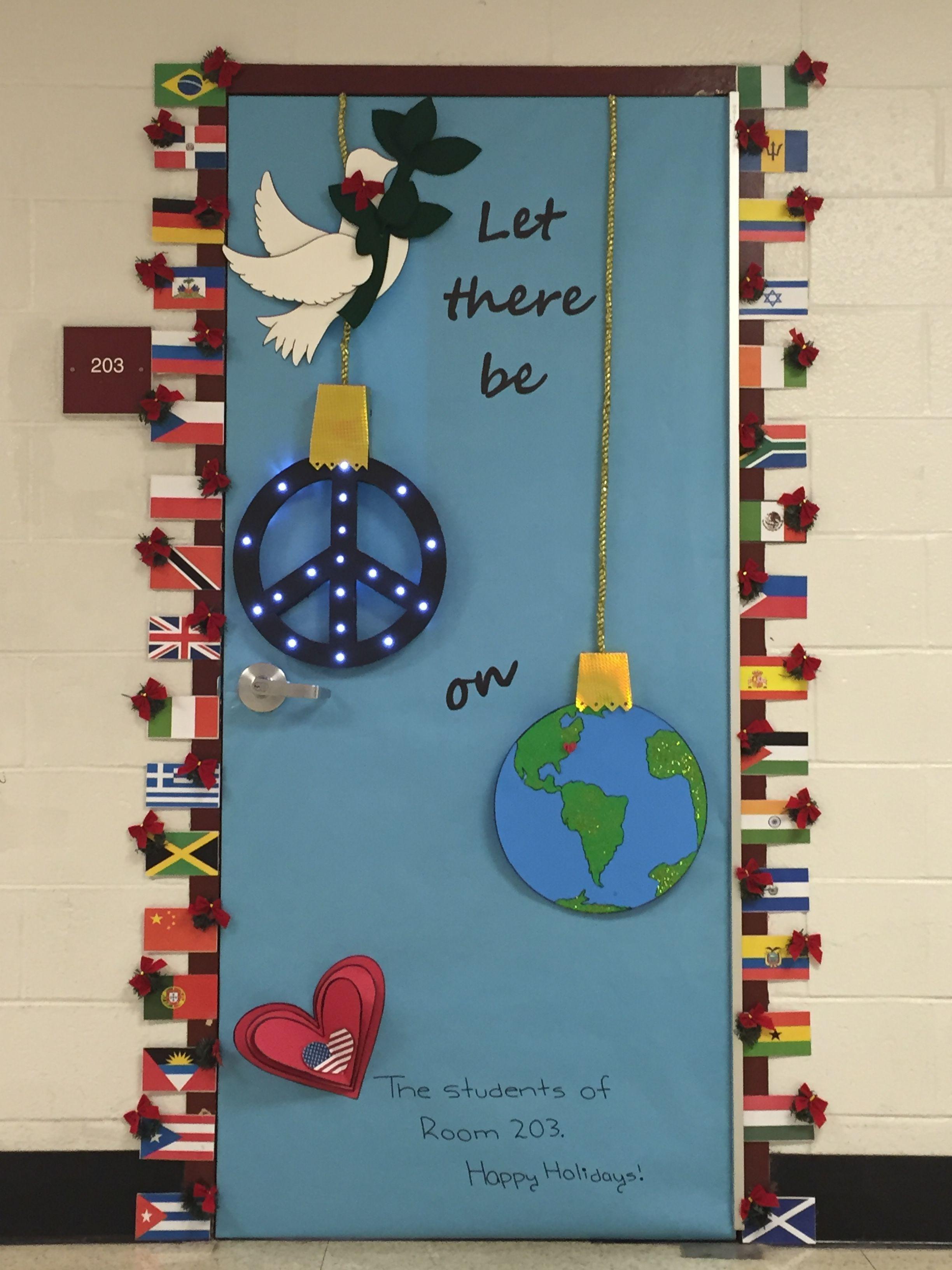 Peace on Earth high school Christmas door decorating