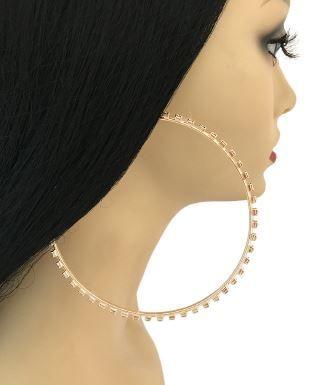 Hip Hop Gold Hoop Earrings With Clear Rhinestones By Pinktownusa Com 7 00