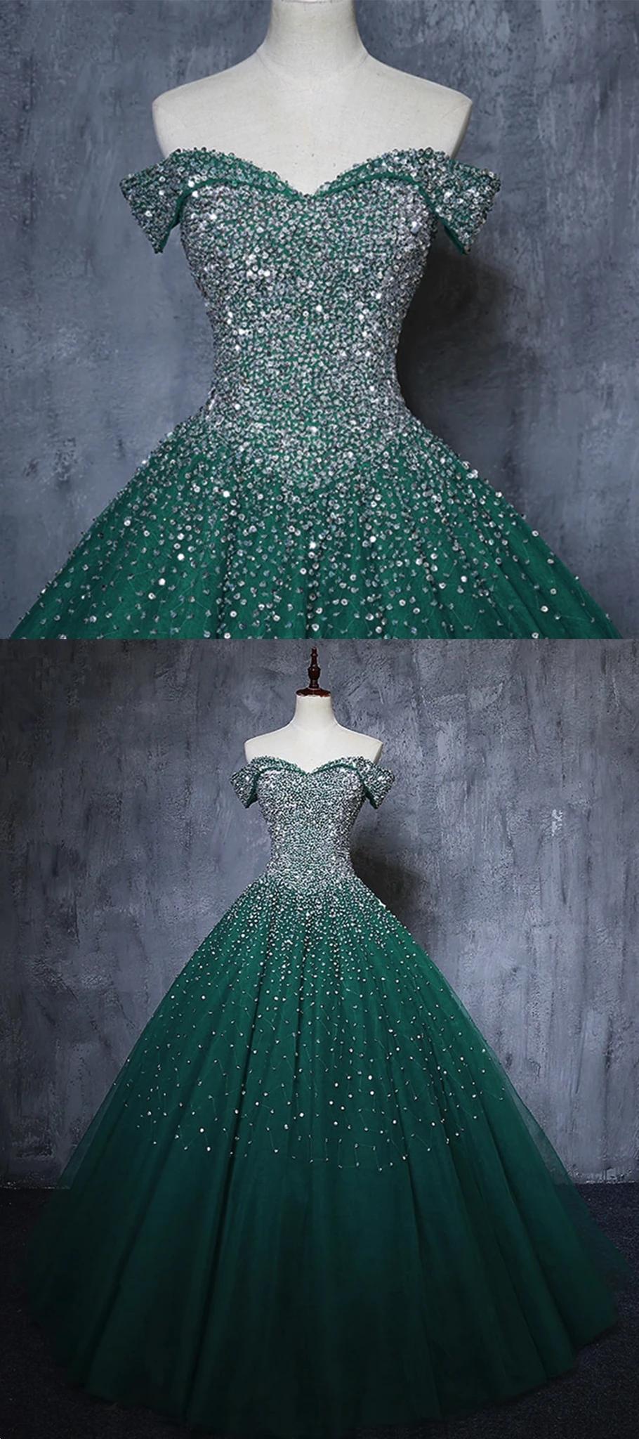 Dark Green Tulle Sweetheart Sparkle Party Dress Sweet 16 Dress Evening Dresses Long Prom Dresses Sweet 16 Dresses [ 2048 x 910 Pixel ]