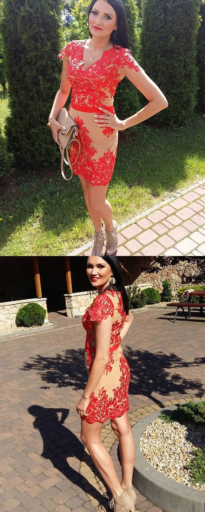 Vneck red lace appliqued tight short formal dress with cap sleeves