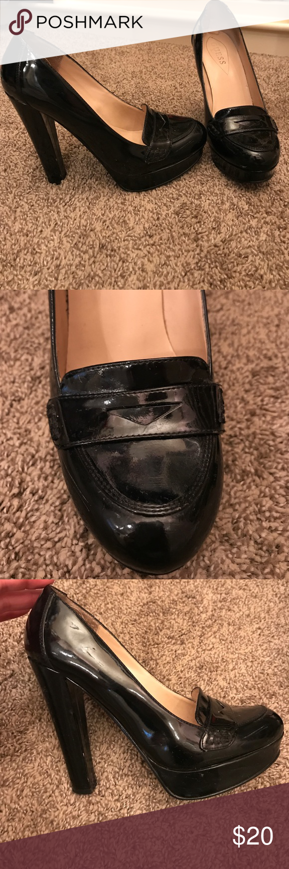 01ae568cde5 GUESS chunky heel platform loafer Great condition!! Guess Shoes Heels